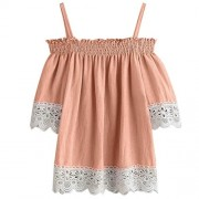 Clearance! WILLTOO Women Short Sleeve Lace Blouse Summer T Shirt - Shirts - $5.45