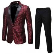 Cloudstyle Mens 2 Piece Print Dress Suit 1 Button Slim Fit Formal Dinner Tuxedo Jacket Pants - Sakoi - $55.99  ~ 48.09€