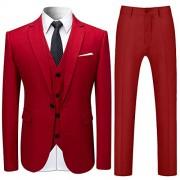 Cloudstyle Men's 3-Piece Suit One Button Slim Fit Solid Color Jacket Smart Wedding Formal Suit - Sakoi - $82.99  ~ 71.28€