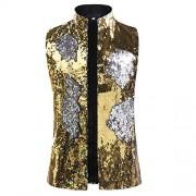 Cloudstyle Mens Dress Suit Jacket Vest Double-Sided Color Sequin Tux Party Show Waistcoat - Sakoi - $32.99  ~ 28.33€