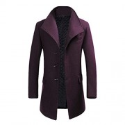 Cloudstyle Mens Quality Mid Long Wool Trench Pea Coat Wide Lapel Warm Jacket Overcoat - Outerwear - $66.99  ~ 57.54€