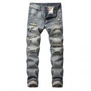 Cloudstyle Mens Ripped Biker Washed Jeans Straight Fit Distressed Holes Moto Denim Pants - Hlače - duge - $28.99  ~ 24.90€