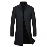 Cloudstyle Men's Single Breasted Solid Wool Blend Knee Length Trench Coat - Outerwear - $73.99  ~ 63.55€