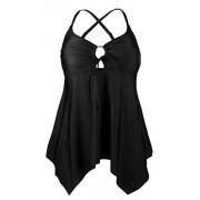 Cocoship Women's Black Handkerchief Hemline Swim Top V-neck Flowy Layered Tankinis(FBA) - Swimsuit - $16.99