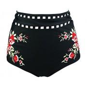 Cocoship Women's Retro High Waisted Bikini Bottom Sakura Floral Embroidery Swim Brief Tankinis(FBA) - Swimsuit - $16.99