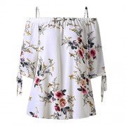Cold Off The Shoulder Short Sleeve Flowy Trendy Embroidered Shirt for Women - Shirts - $3.99
