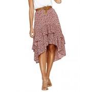 Conmoto Women's Elegant High Waist Polka Dot Skirt Asymmetrical Layer Ruffle Long Skirt - My look - $18.99