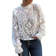 Conmoto Women's Elegant Long Sleeve Floral Lace Blouse Sexy Sheer Shirt Tops - My look - $11.99