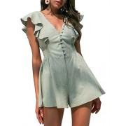 Conmoto Women's V Neck Ruffle Short Sleeve Elastic Waist Linen Short Jumpsuit Romper - My look - $31.99