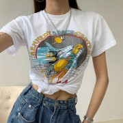 Cool spaceship printed short-sleeved T-shirt female retro - Shirts - $25.99
