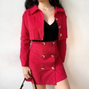 Corduroy high waist short jacket + skirt - Košulje - kratke - $35.99  ~ 30.91€