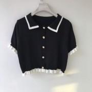 Cotton and soft knitted ruffled lapel short temperament top - Košulje - kratke - $21.99  ~ 139,69kn