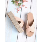Cross Strap Woven Flatform Sliders - Sandals - $34.00
