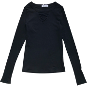 Cross hollow round neck pullover solid c - Shirts - $19.99