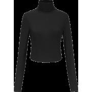 Cross strap backless long sleeve knit t- - Shirts - $25.99