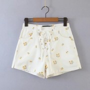 Cross tie rope embroidery wide leg shorts high waist A-line hot pants - Shorts - $28.99