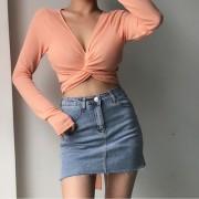 Cute retro sexy deep V neck cross strap thin knitted high waist long sleeve T-sh - Shirts - $27.99