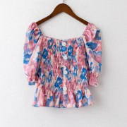 Cute word shoulder waist top short floral chiffon shirt - Košulje - kratke - $19.99  ~ 17.17€