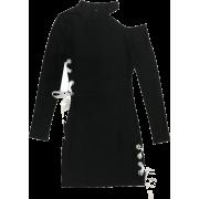 Cutout Strap Slim Thin Long Sleeve Dress - Dresses - $27.99