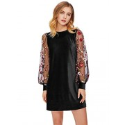 DIDK Women's Velvet Tunic Dress with Embroidered Floral Mesh Bishop Sleeve - Dresses - $16.99