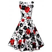 DREAGAL Vintage 1950's Floral Spring Garden Party Picnic Dress Party Cocktail Dress - Dresses - $24.99