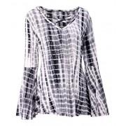 DREAGAL Women's Long Bell Sleeve Tie Dye Ombre Blouse Criss Cross Tee Shirt Tops - Shirts - $11.99