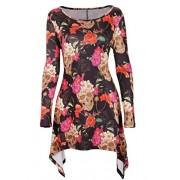 DREAGAL Women's Scoop Neck Long Sleeves Irregular Hem Printed Tunic Blouse Tops - Shirts - $30.99