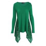 DREAGAL Women's Sexy V Neck Long Sleeve Irregular Hem Lace Splice Trim Casual Blouse Shirt Tops - Shirts - $29.99