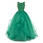 DRESSTELLS Long Prom Dress Asymmetric Bridesmaid Dress Beaded Organza Gown - Vestidos - $99.99  ~ 85.88€