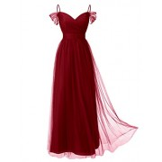 DRESSTELLS Long Prom Dress Tulle Off Shoulder Bridesmaid Dress With Pleat - Dresses - $29.99