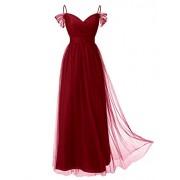 DRESSTELLS Long Prom Dress Tulle Off Shoulder Bridesmaid Dress with Pleat - Dresses - $39.99