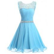 DRESSTELLS Short Homecoming Dress Ruched Chiffon Prom Party Dress With Beads - Dresses - $219.99