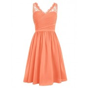 DRESSTELLS Short Homecoming Dress V-Neck Ruched Chiffon Bridesmaid Prom Dress - Vestidos - $59.99  ~ 51.52€
