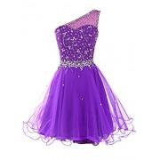 DRESSTELLS Short One Shoulder Prom Dresses Tulle Homecoming Dress with Beads - Dresses - $15.99