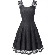 DRESSTELLS Short Sweetheart Bridesmaid Dress Floral Lace Cocktail Party Dress - Dresses - $15.99