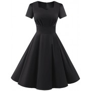DRESSTELLS Vintage 1950s Solid Color Prom Dresses Short Sleeved Retro Audery Swing Dress - Kleider - $15.99  ~ 13.73€