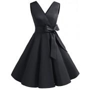 DRESSTELLS Vintage 1950s Solid Color V Neck Retro Swing Dress with Bow Tie - Vestiti - $12.99  ~ 11.16€