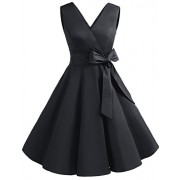 DRESSTELLS Vintage 1950s Solid Color V Neck Retro Swing Dress with Bow Tie - Dresses - $15.99