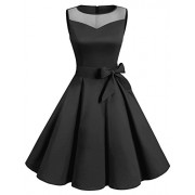 DRESSTELLS Women Classic Rockabilly Illusion Dress Retro See Through Cocktail Dress - Dresses - $15.99