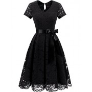DRESSTELLS Women's Elegant Bridesmaid Dress Floral Lace Dresses with Short Sleeves - Dresses - $15.99  ~ £12.15