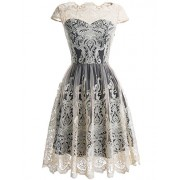 DRESSTELLS Women's Homecoming Floral Embroidered Lace Cocktail Maxi Dress with Cap-Sleeves - Dresses - $89.99