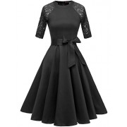 DRESSTELLS Women's Vintage 50's Retro Rockabilly Cocktail 3/4 Sleeves A-line Prom Party Dress - 连衣裙 - $45.99  ~ ¥308.15