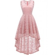 DRESSTELLS Women's Vintage Dress V-Neck Floral Lace Hi-Lo Cocktail Party Dress - Dresses - $15.99
