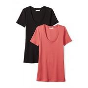Daily Ritual Women's Midweight 100% Supima Cotton Rib Knit Short-Sleeve Scoop Neck T-Shirt, 2-Pack - Shirts - $20.00