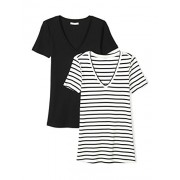 Daily Ritual Women's Midweight 100% Supima Cotton Rib Knit Short-Sleeve V-Neck T-Shirt, 2-Pack - Shirts - $20.00