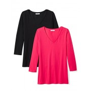 Daily Ritual Women's Stretch Supima 3/4-Sleeve V-Neck T-Shirt, 2-Pack - Shirts - $20.00