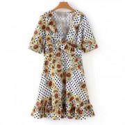 Daisy Print High Waist Chiffon Dress - Dresses - $27.99