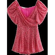 Daisy Puff Sleeve Print Print Jumpsuit - Dresses - $29.99