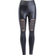 Dark Sexy Peach Butt PU Leather Pants Small Feet High Waist Tights Wear Bandage - Jeans - $26.99  ~ 23.18€