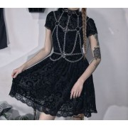 Dark goth sexy mesh small black dress fe - Vestidos - $27.99  ~ 24.04€